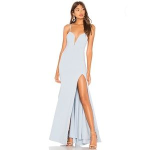 Lovers + Friends Yashvi Gown in Baby Blue Slit